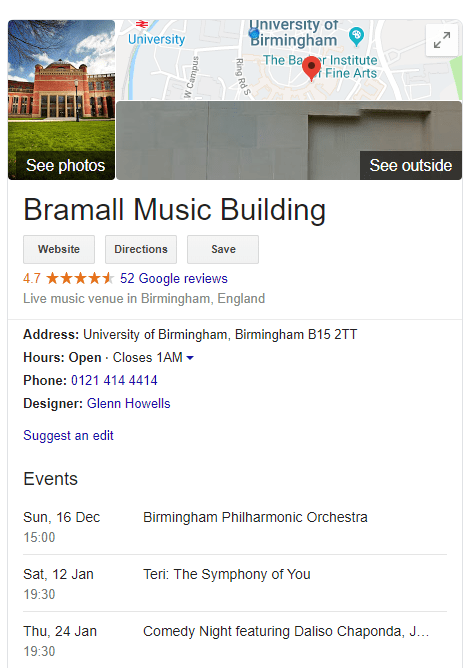 The Bramall's knowledge card