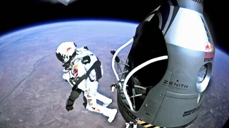 Felix Baumgartner jumping out of shuttle
