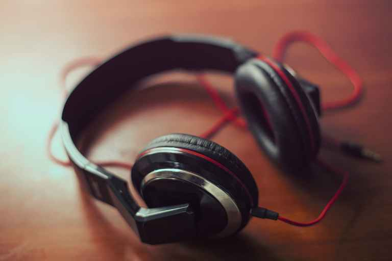 Headphones lying on a desk
