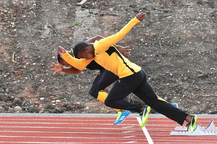 Jamaican Team athletes on the University of Birmingham athletics track