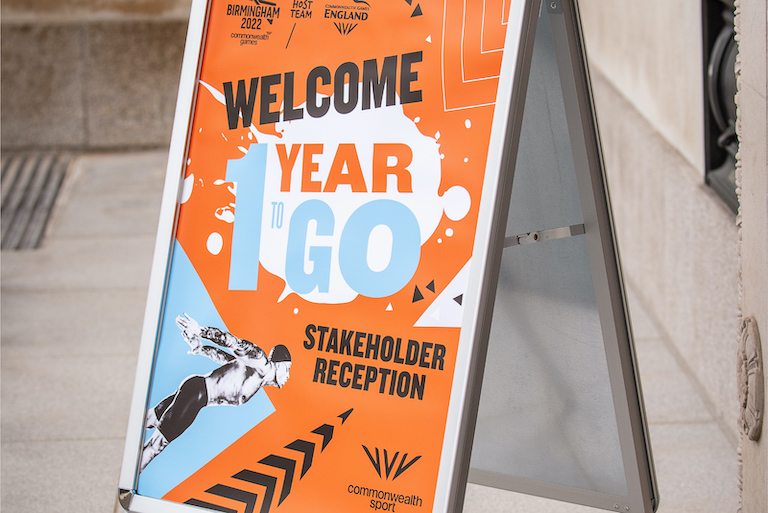 Welcome sign to the 1 Year to Go Stakeholder Reception