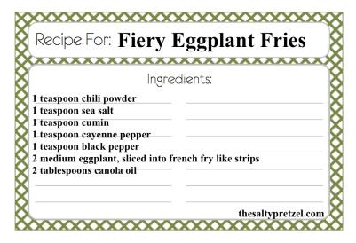 Fiery Eggplant Fries Paleo