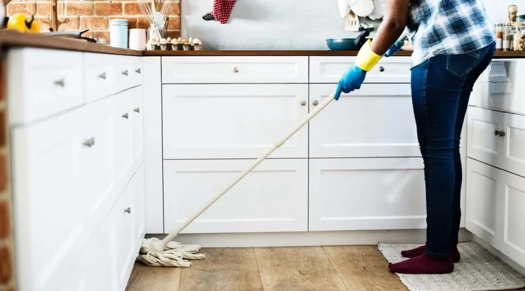 barter for cleaning services lady with mop