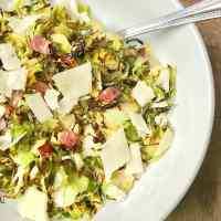 Crispy Brussels Sprouts with Bacon, Parmesan, and Balsamic