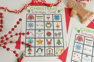 christmas scavenger hunt printable styled with red candy garland and gingerbread man
