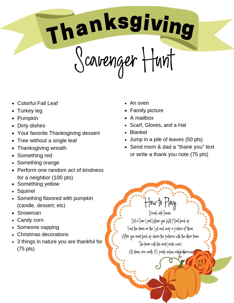 Thanksgiving Scavenger Hunt Confessions Of Parenting Family Lifestyle