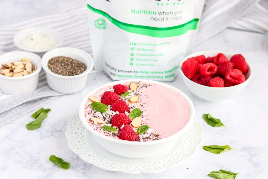 Are you looking to improve your energy and healthy after having a baby? This Raspberry Creamsicle Smoothie bowl is easy to make and will do just that!