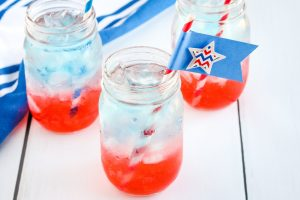 kid-friendly layered sparkling drink with craft straws