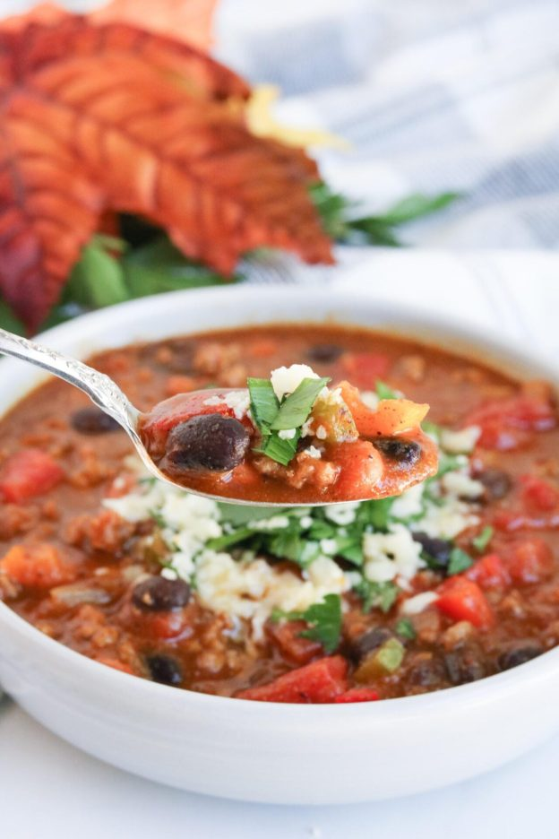 Headed to a chili cookoff this year and looking for the best chili recipe? This super-easy pumpkin chili recipe will definitely be a crowd favorite!