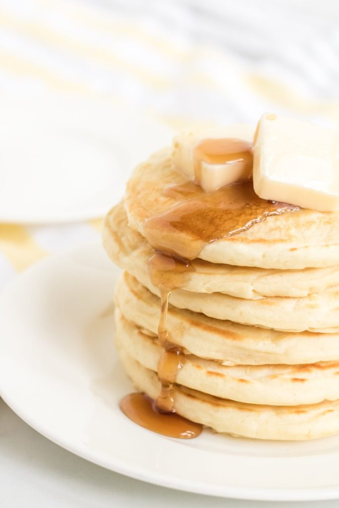 If you are looking for the best pancakes from scratch, this is what you are looking for. This simple pancake recipe easily adapts to whole wheat pancakes, chocolate chip pancakes, or even funfetti pancakes!