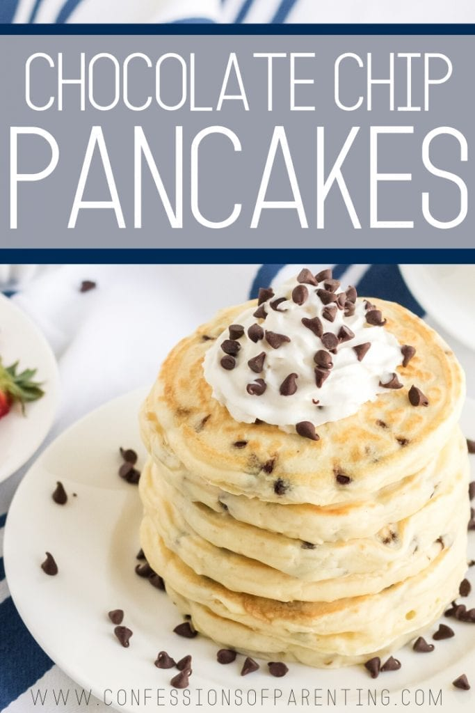 These chocolate chip pancakes are light and fluffy and loaded with chocolate chips to satisfy your chocolate craving first thing in the morning!