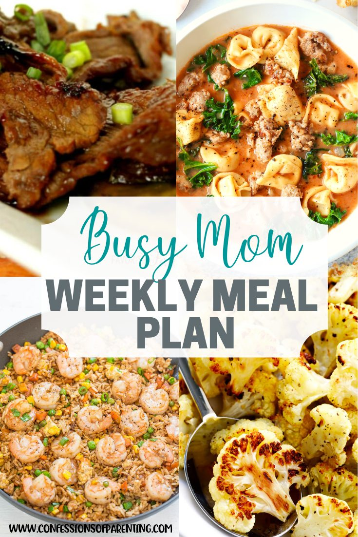 weekly meal plan for engaged moms