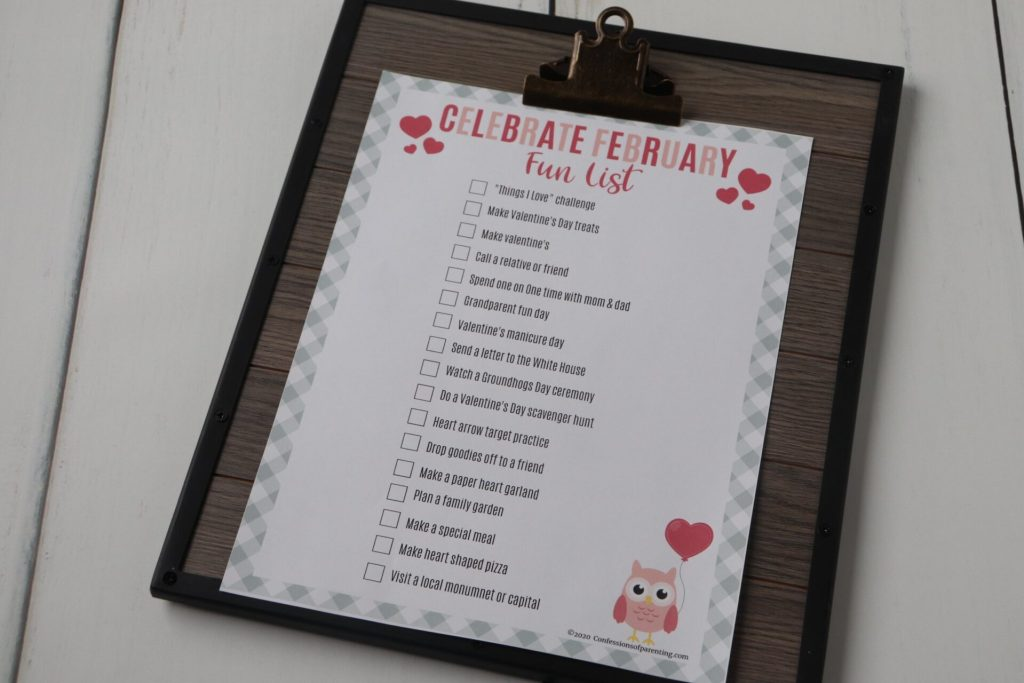 Get ready to Celebrate February with this free printable to help you celebrate February with these fun family activities to help you celebrate the month with your kids and family.