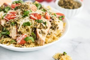 If you're searching for the best grilled chicken pesto pasta recipe that's healthy and full of flavor, look no further! This is sure to be a hit with the entire family.