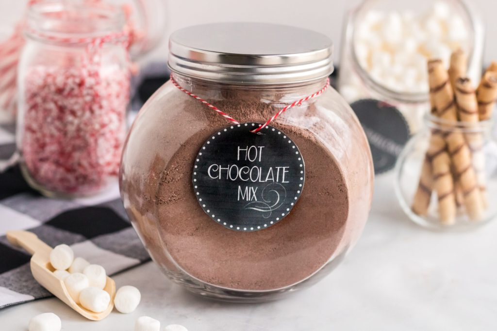 Hot Cocoa Mix in Mason Jar with printable label
