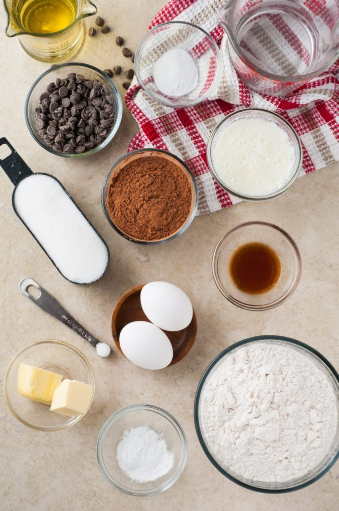 ingredients for double chocolate cupcakes