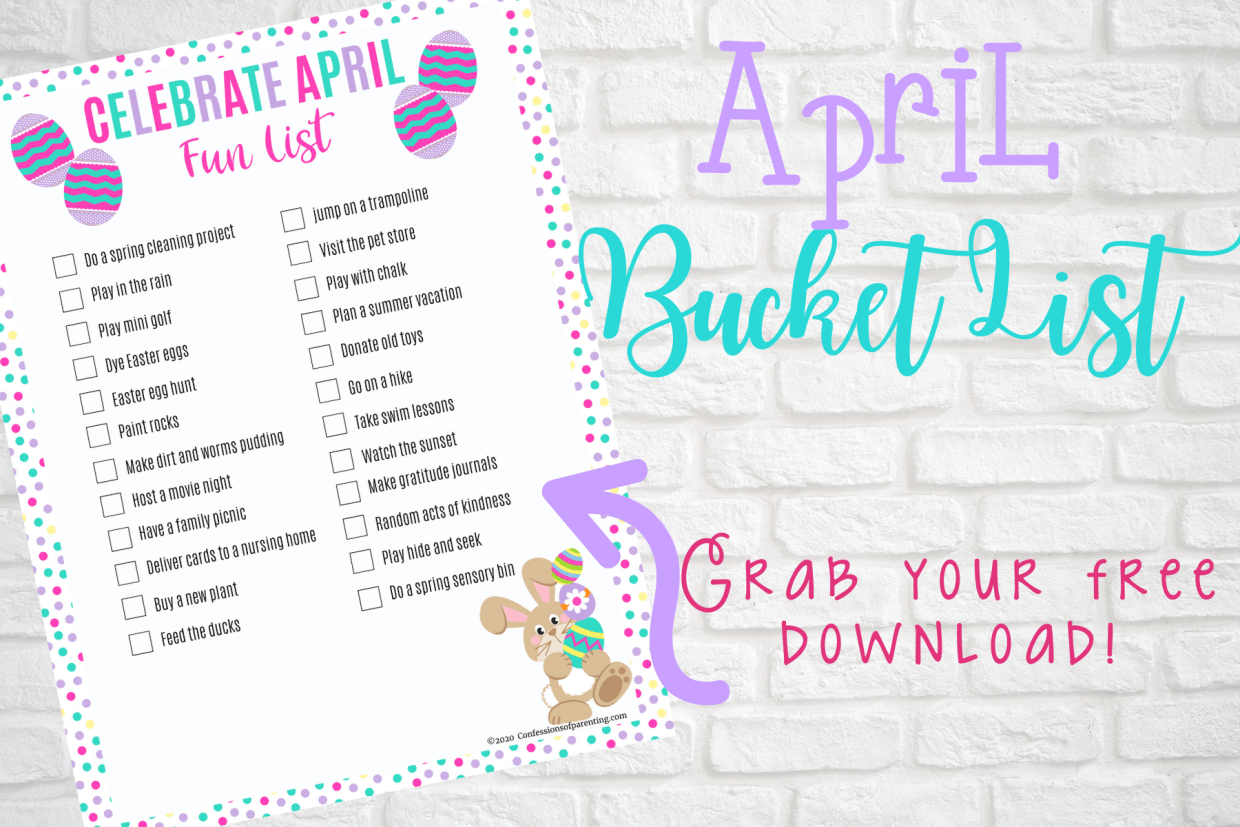 Your family will have so much fun as you celebrate April with this printable April Bucket list, full of inexpensive family fun ideas!