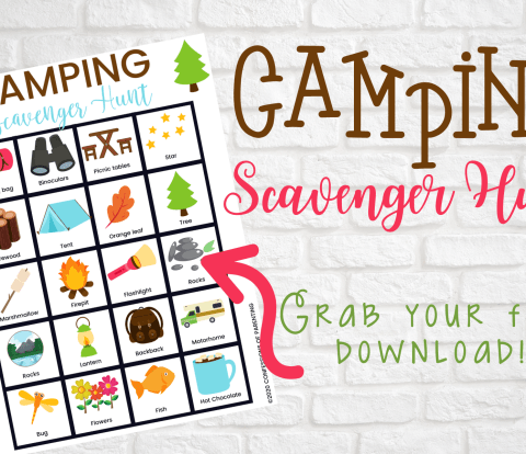 Camping trips are such a good opportunity to spend quality time with your family. If you're planning a camping trip, make sure you download this free Camping Scavenger Hunt printable to play with your kids.