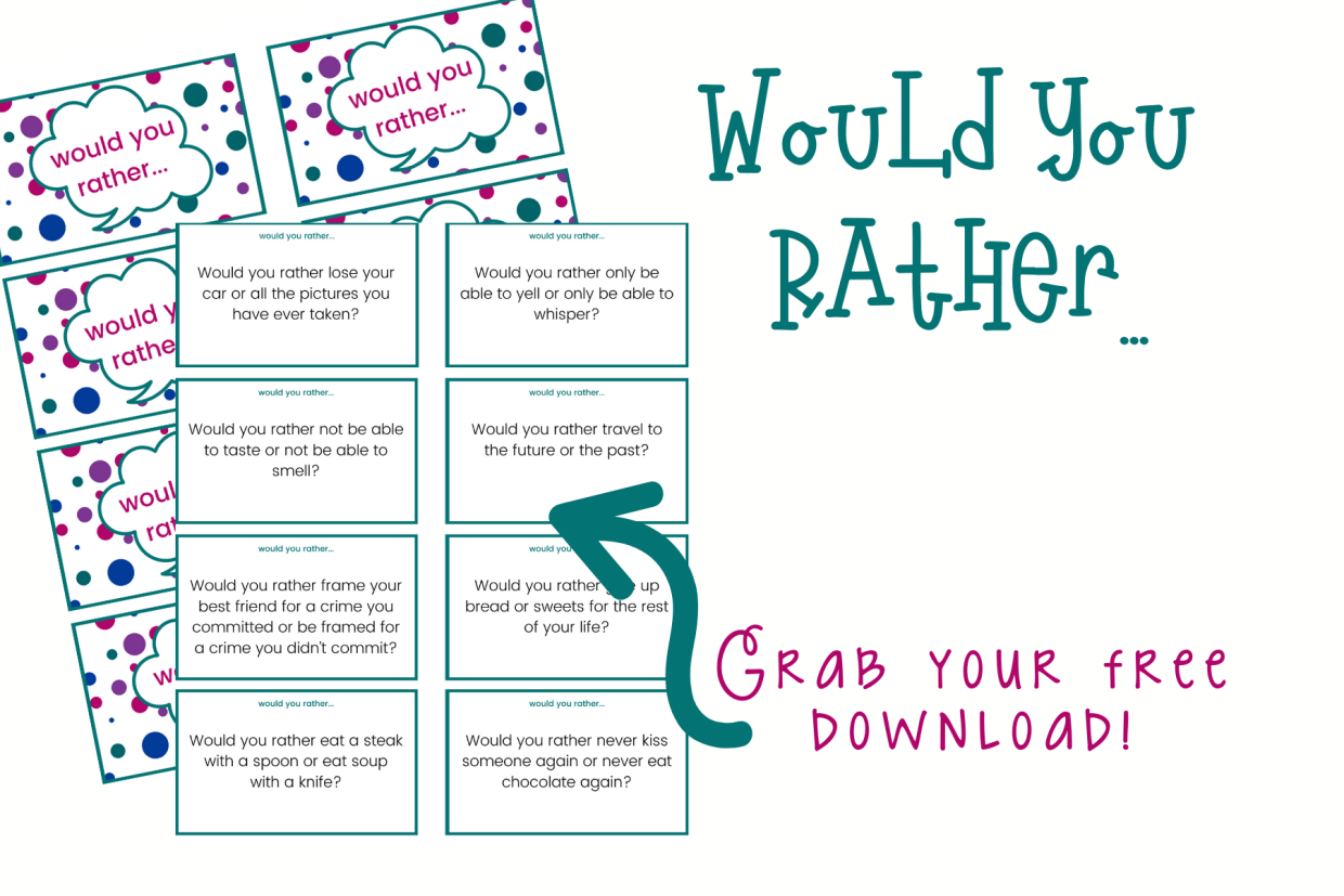 Would you rather questions are the best fun family activity or fun to play with friends. Grab this free would you rather printable for hours of fun!