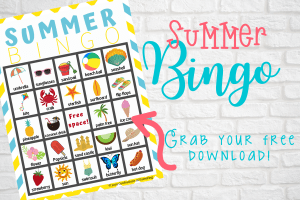 Kick-off the start of your summer holidays with this fun and free Summer bingo printable! This free printable is a great way to set the tone for your summer as you and your family play with this fun summer bingo set!