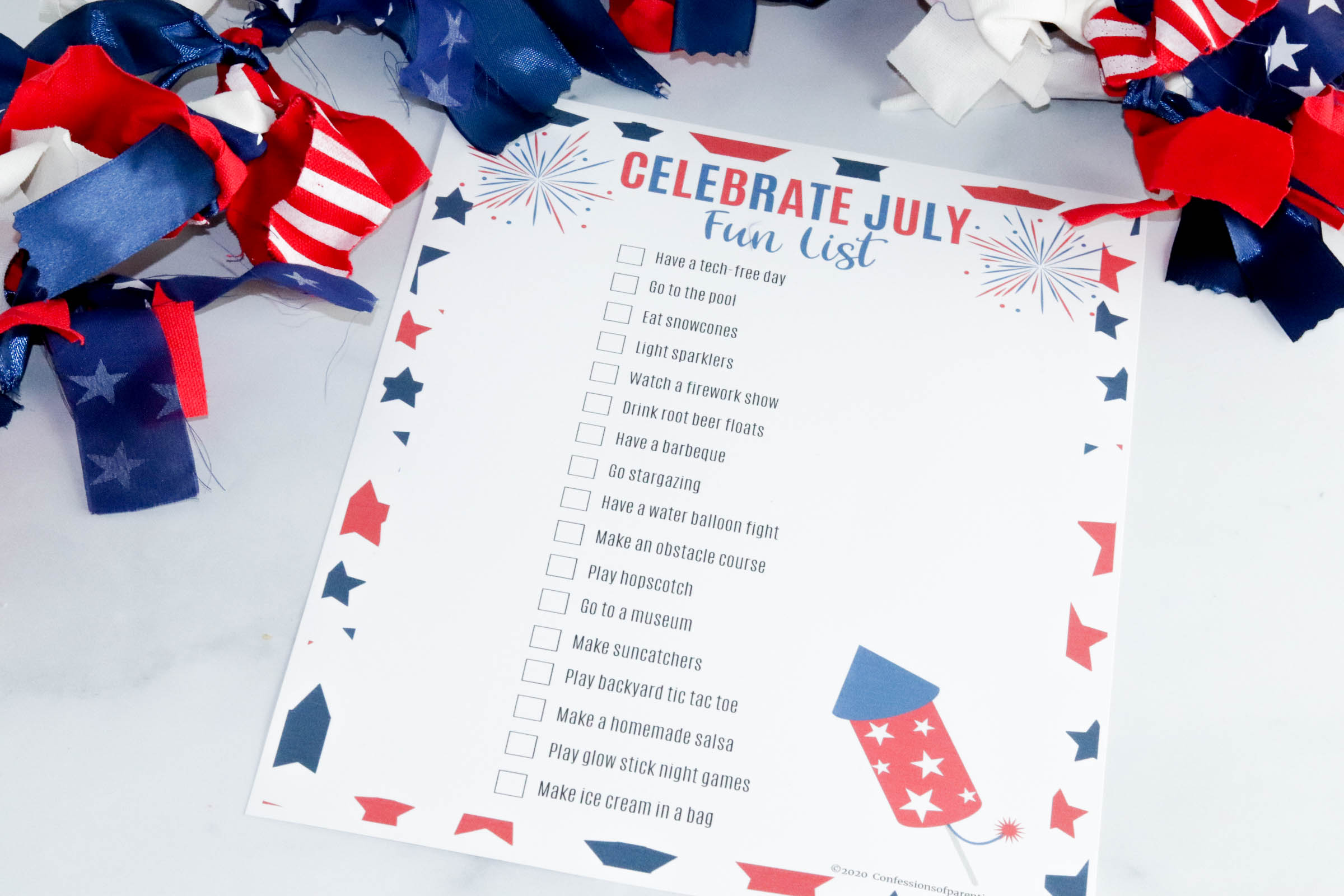 Celebrate July with these fun ideas that you can do with your family. Download this free July bucket list printable that will take your July from boring to fab!