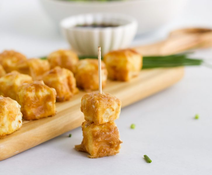 air fryer tofu in toothpick
