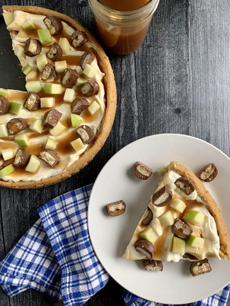 overhead shot of apple dessert pizza