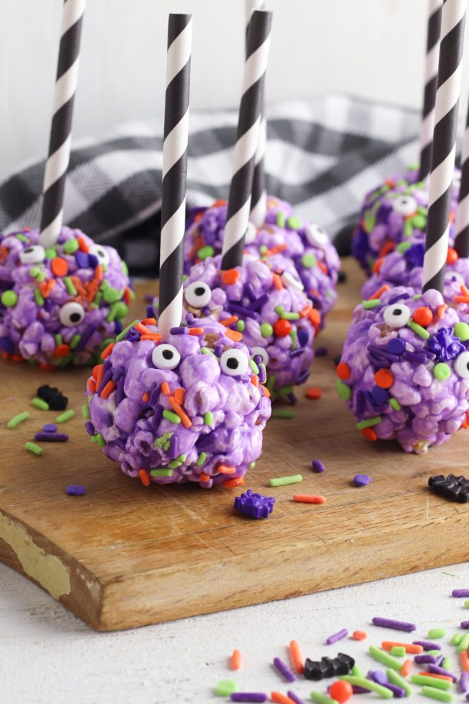 DIY Halloween monster popcorn balls