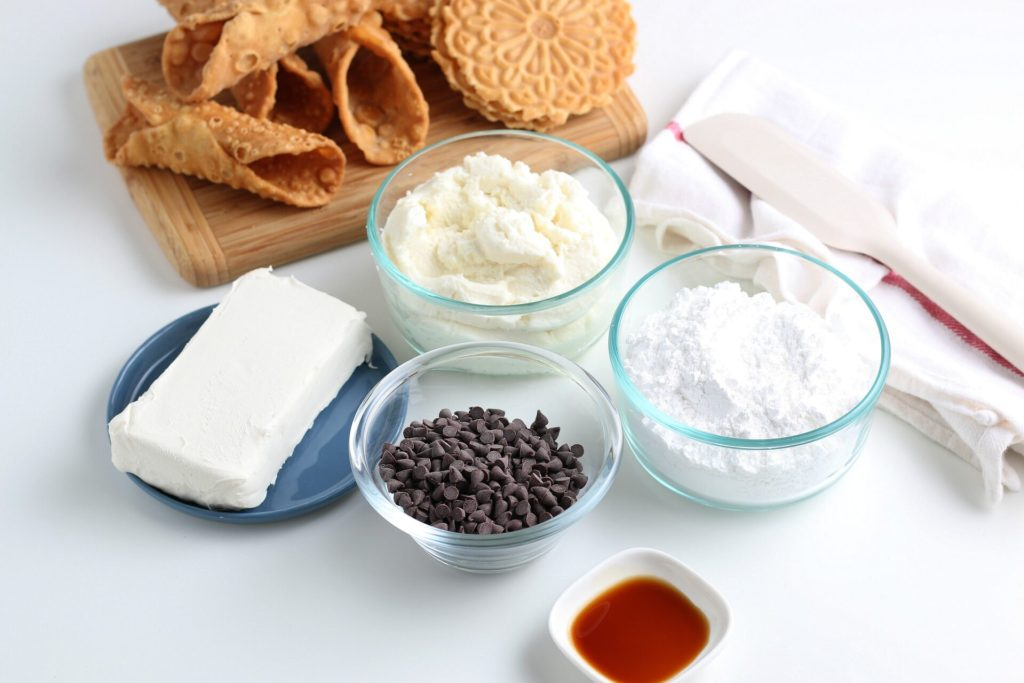 cannoli dip ingredients on counter