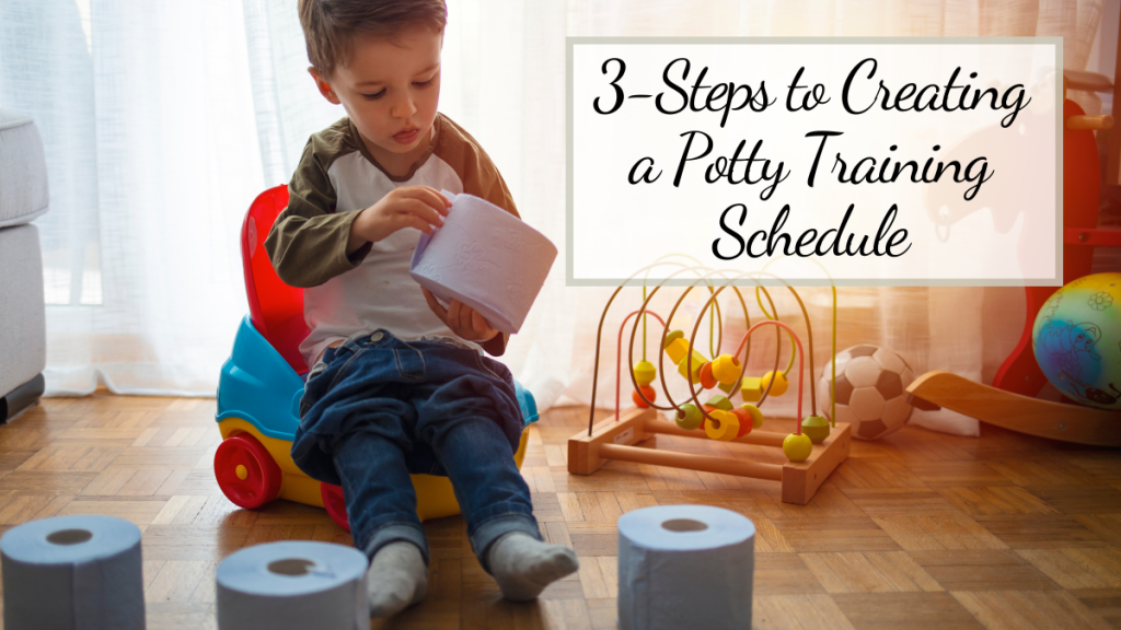 toddler following potty training schedule with toilet paper and toys