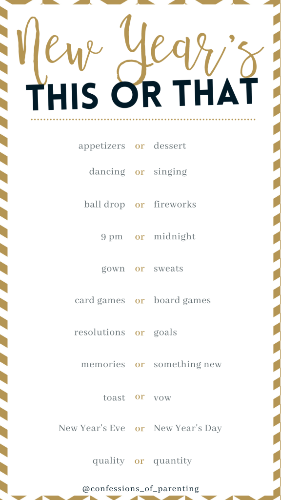 New Year's This or that printable