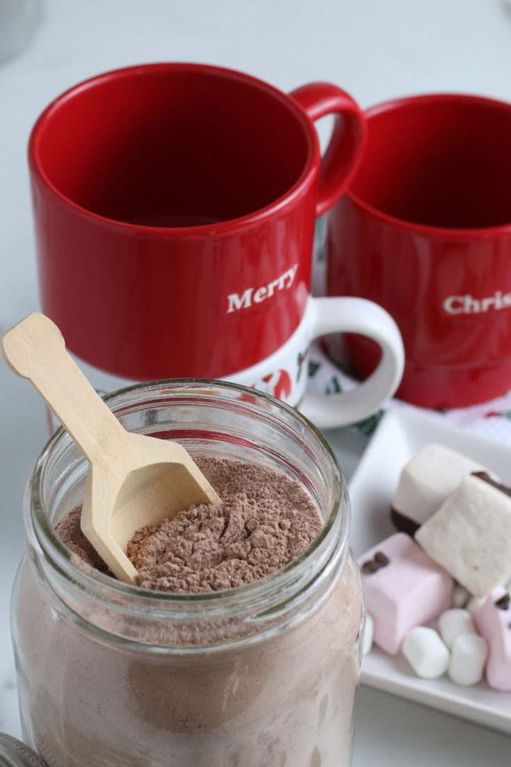 close up of glass jar with homemade hot chocolate mix