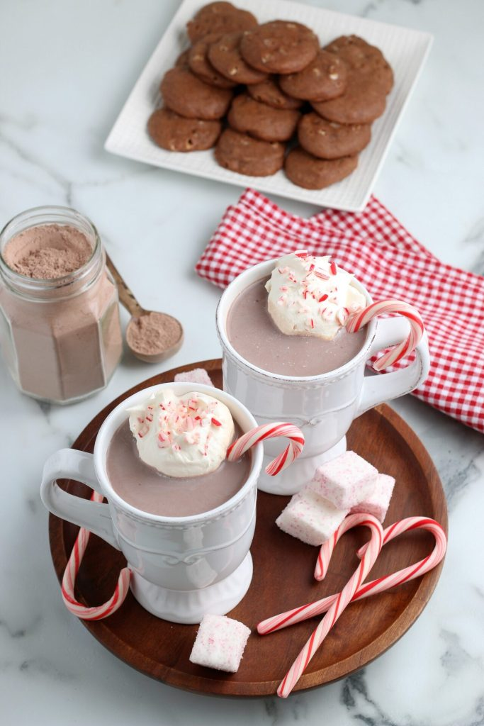 overhead shot of peppermint hot chocolate