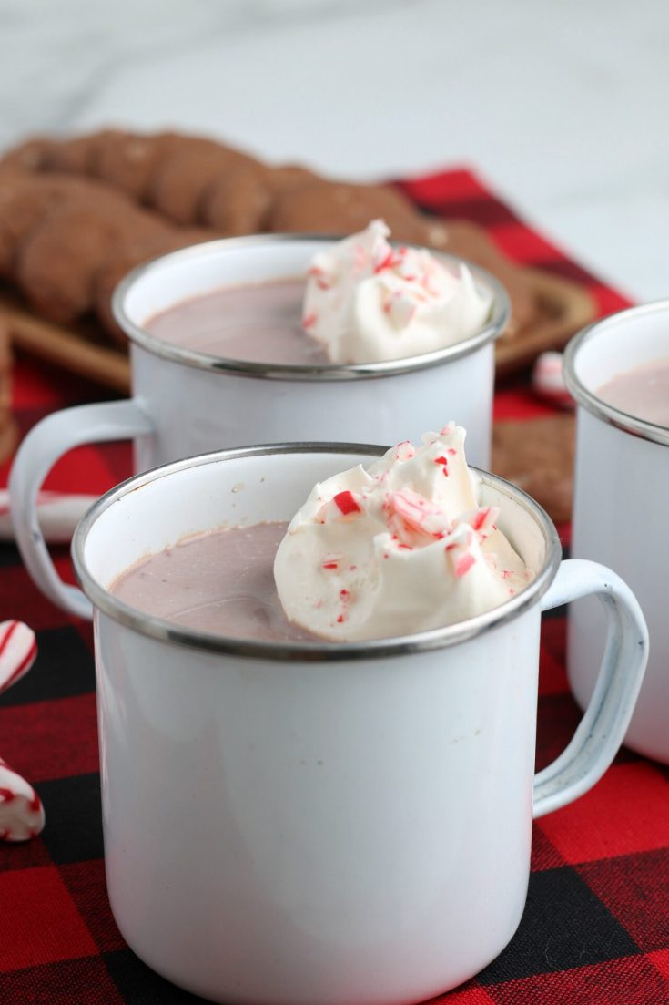 peppermint hot chocolate in white mugs on buffalo print towel