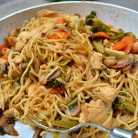 Vegetables and Chicken Stir Fry Noodles