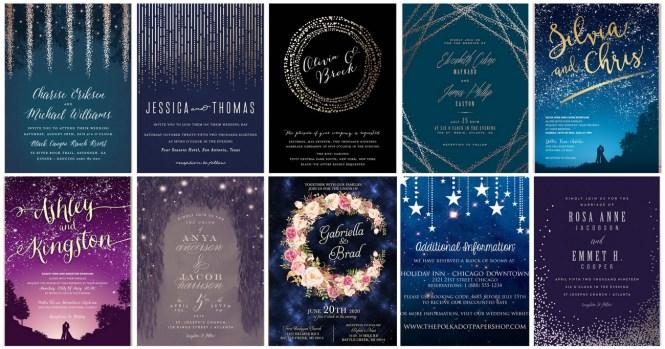 16 Starry Night Celestial Wedding Invitations To Light Up