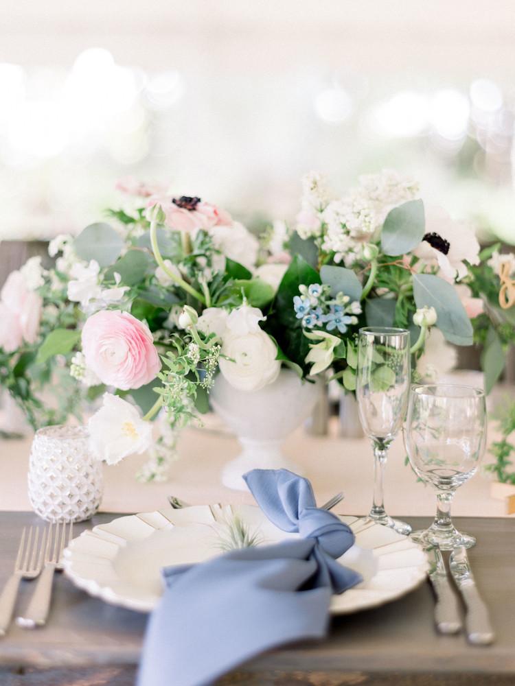 Beautifully Romantic Slate Blue Blush Pink Spring Wedding