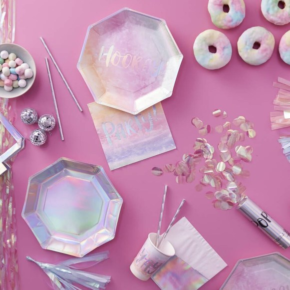 Iridescent party decor available at Ruby Rabbit