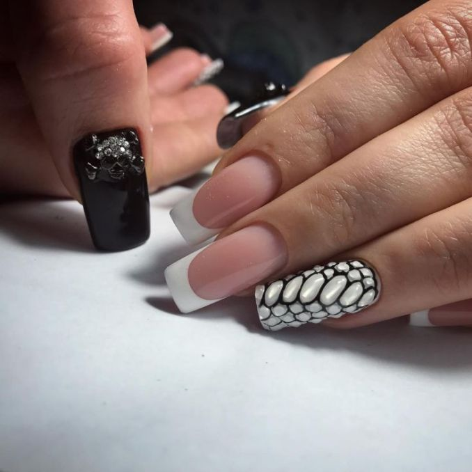 Manicure with a print: options for design 8