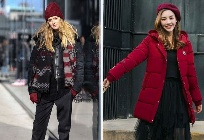 Jacket and red hat