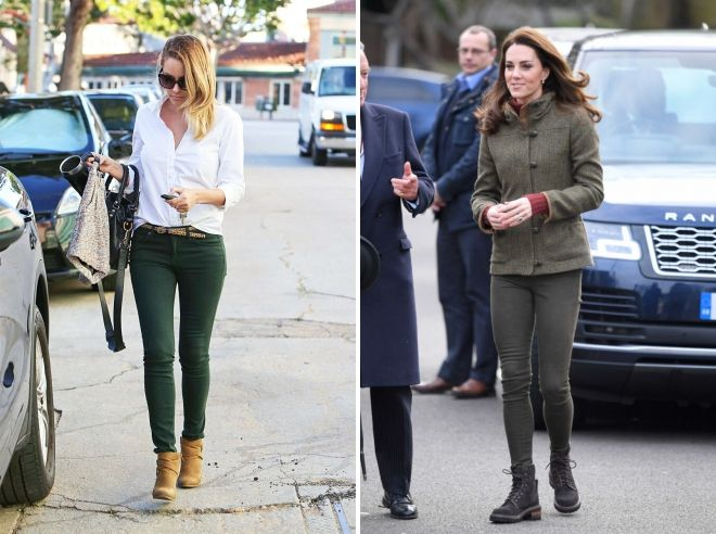 what to wear with dark green jeans