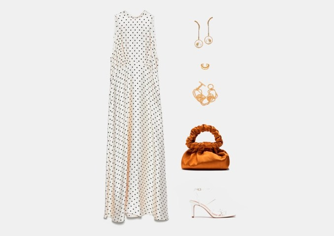 Infographic: summer outfit with a long polka dot dress