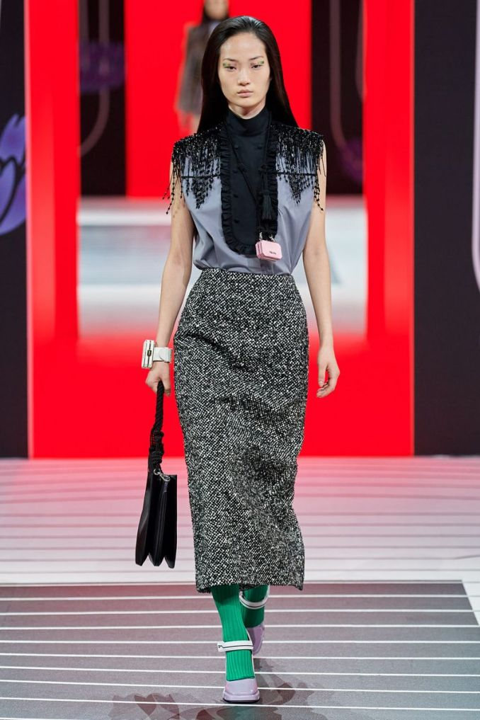 Fashionable pencil skirts fall-winter 2020-2021 from the Prada collection