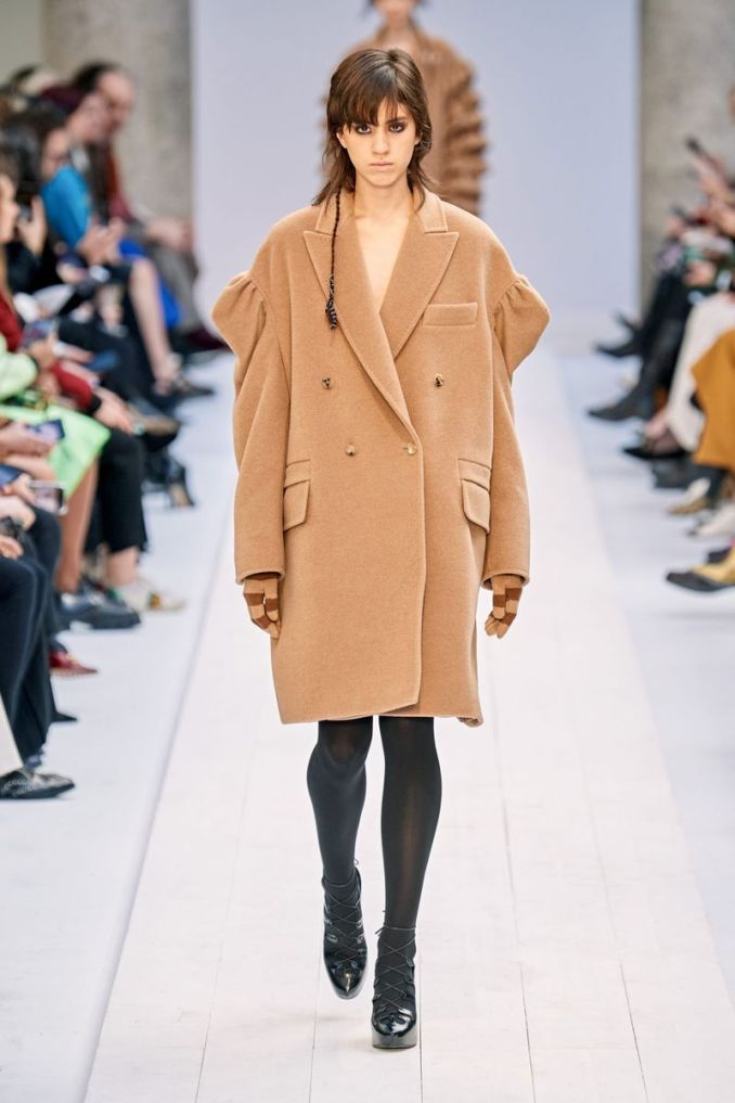 The most fashionable style fall-winter 2020-2021 - jacket coat with voluminous shoulders from the Max Mara collection