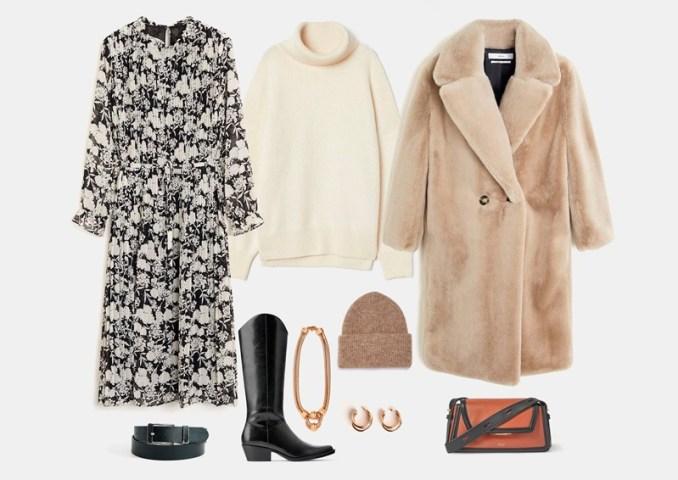 Chiffon dress in winter