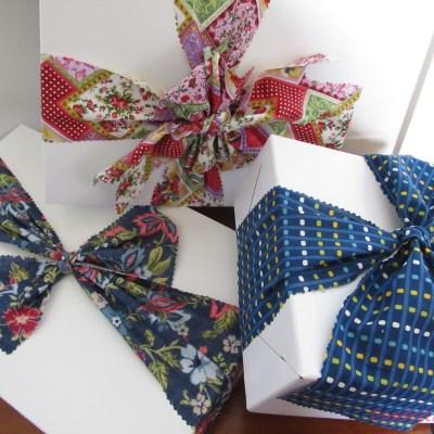 Gift Wrap Inspiration:  Fabric Scraps