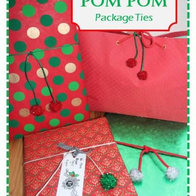Easy Holiday Gift Wrap Idea–Pom Pom Ties
