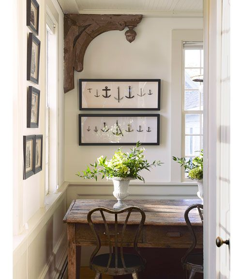 Gorgeous dining space with large corbel beautiful nautical themed dining room