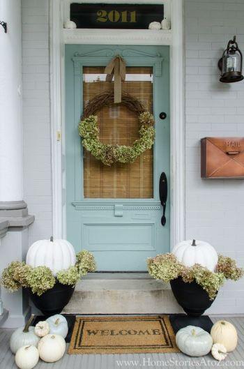 Pumpkins at door