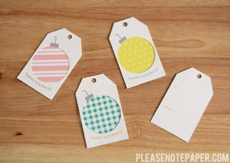 free printable gift tags--Please Note Paper